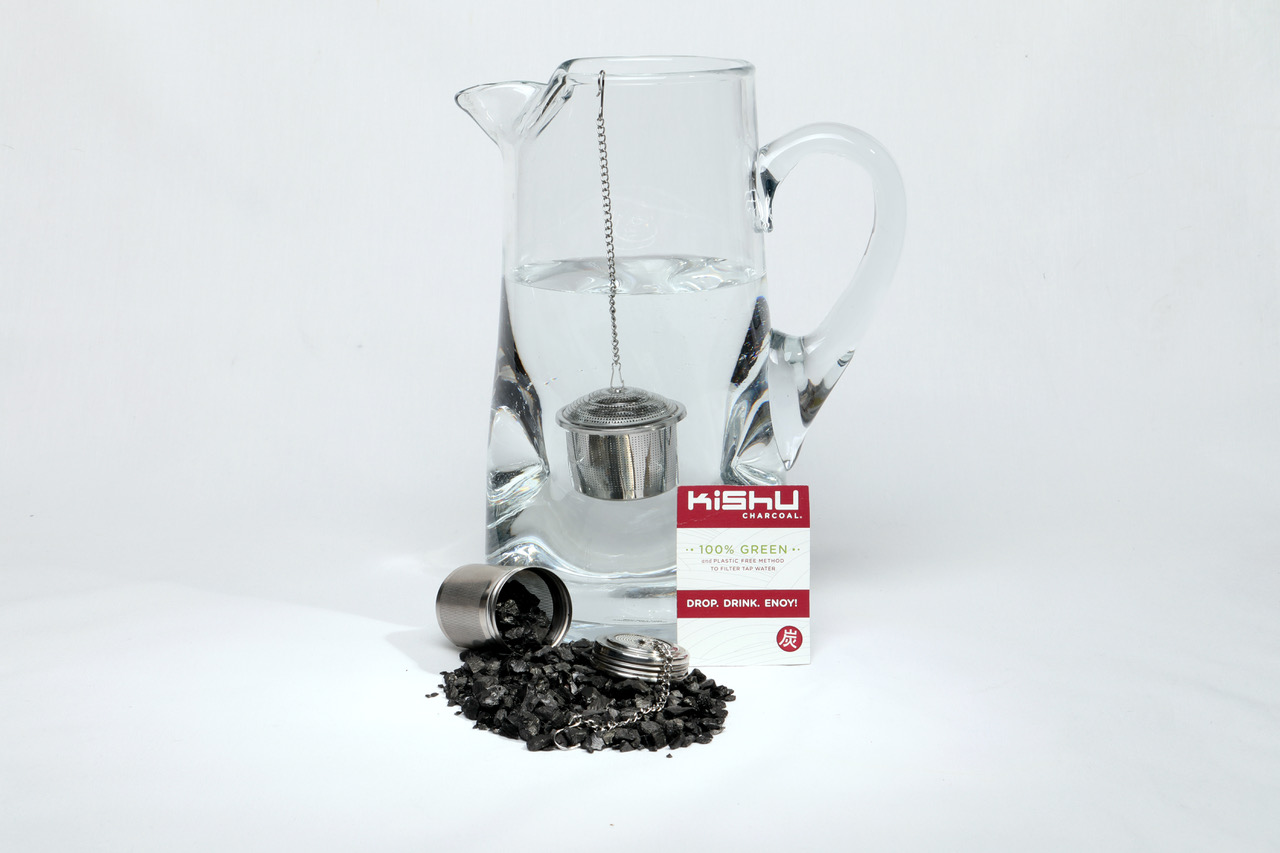 INTRODUCING KISHU CHARCOAL BITS FOR FAST WATER FILTERING - includes Infuser + 1 year supply!