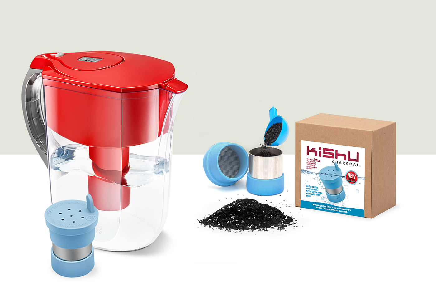 Kishu Charcoal Water Filter for the Brita! Comes with a 6-month supply of granules